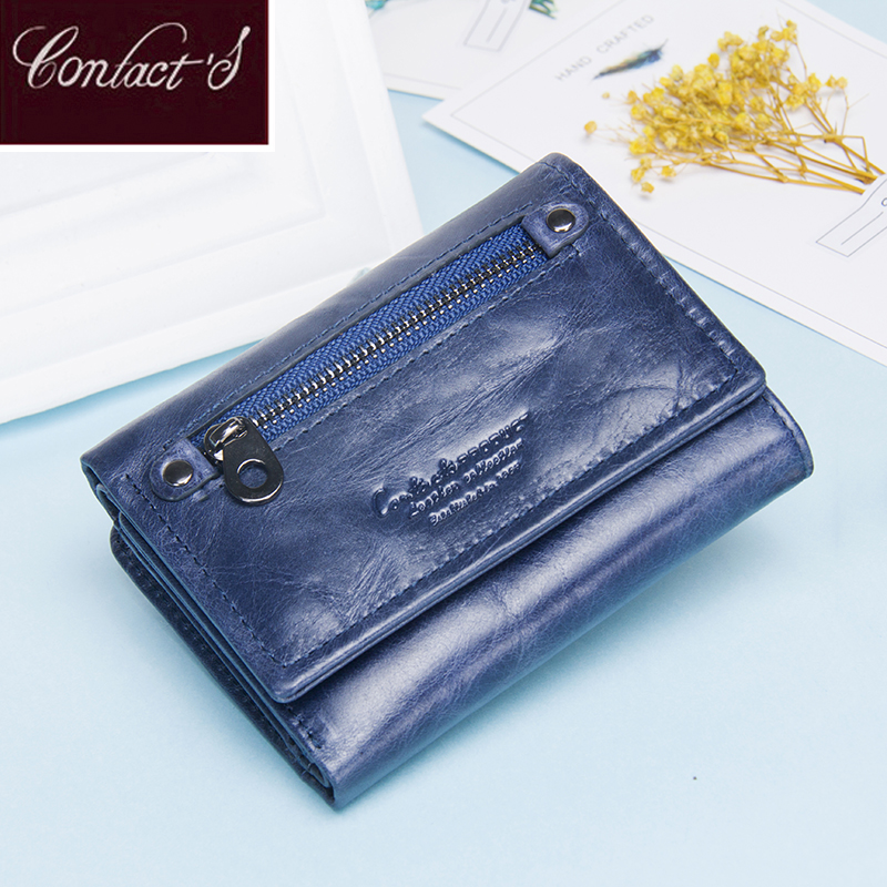 Contact's Women Wallets Clutch Coin Purse Woman Leather Genuine Leather Short Wallet Zipper Card Holder Money Bag For Girls rfid booking women wallets double zipper genuine leather wallet women purse small short clutch lady handy bag card holder wallet