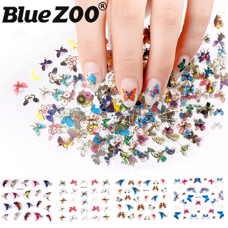 3D Nail Stickers 24 Pcs/lot Colorful Butterfly Animals Pattern Self-adhesive DIY Nail Art Decorations Tip Nails Accessoires leopard pattern adhesive decorative nail tip black deep pink 100 pcs
