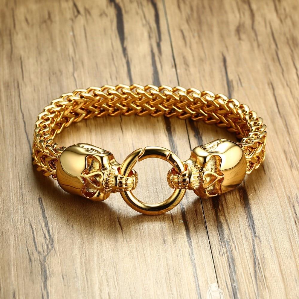 Mens Punk Double SKULL Herringbone Bracelet for Men Braslet Stainless Steel Gold Tone Franco Two-row Wheat Male Jewelry 8.8