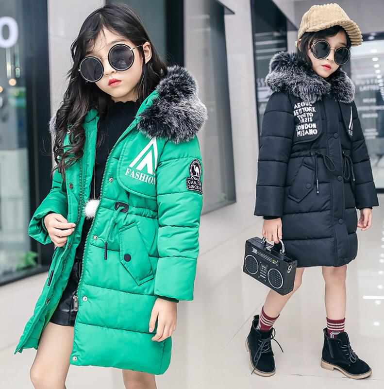 Girls winter clothes coat thick cotton-padded clothes new fashion children artificial fur parkas outwear kids warm jacket casaco 2018 new winter big girls warm thick jacket outwear clothes cotton padded kids teenage coat children faux fur hooded parkas p28