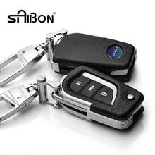 Car Genuine Leather Bag Remote Control Car Keychain Key Cover Case For Toyota Corolla Reiz Rav4 3Button Key L122