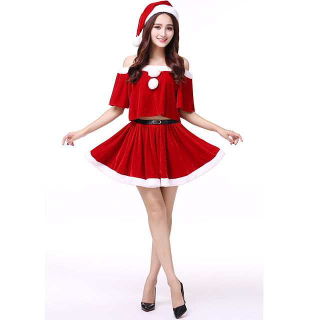 festival costumes hot adult women red sexy santa claus christmas party dresses x75