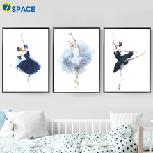 Watercolor Ballet Dancing Girl Wall Art Canvas Painting Nordic Posters And Prints Nursery Pictures For Baby Room Decor