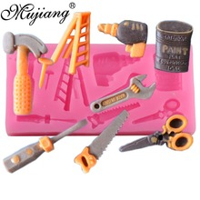 Mujiang herramienta 3D para llave, tijeras, escalera de sierra, moldes de silicona para decorar pasteles, herramientas, moldes de pasta de goma de Chocolate caramelo