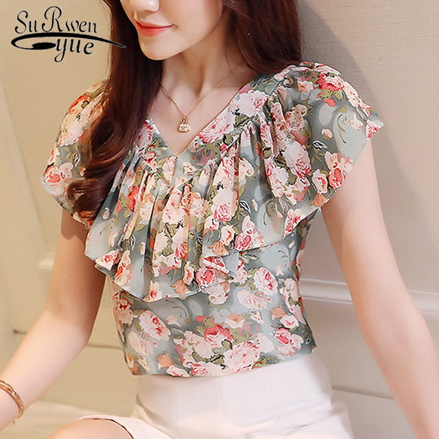 c58aa8615f7 2018 summer printing chiffon women blouse floral ruffles short sleeve women  clothing causal plus size women tops shirts 0464 30