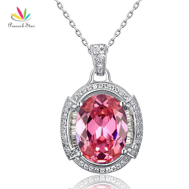 Peacock Star 8 Carat Oval Cut Pink Simulated Sapphire Pendant Necklace Solid 925 Sterling Silver Jewelry CFN8013