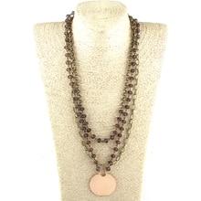 Модные 3 слоя несколько Хрустальный Розарий звено и цепи вафли кулон ожерелья