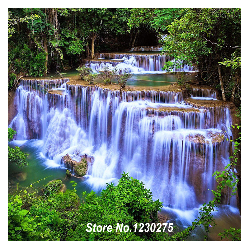 Needlework Diamond Mosaic Forest Waterfall 5D Diamond Painting Cross Stitch Diy Full Diamond Embroidery Home Decor FG192