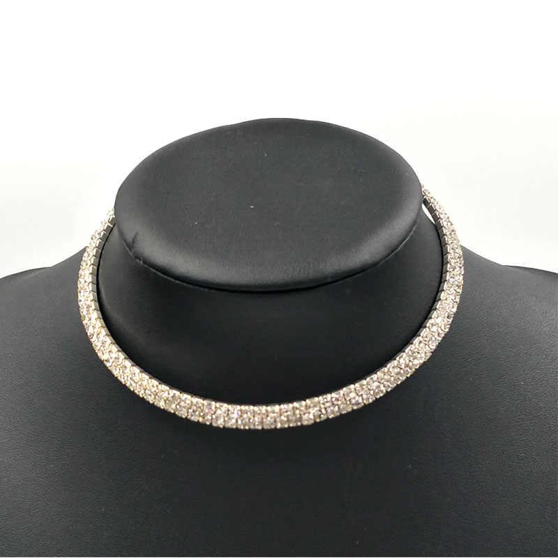 Torque set jóias rhinestone cristal conjunto de jóias de cristal gargantilha colar de jóias bijoux cristal choker jóia do casamento