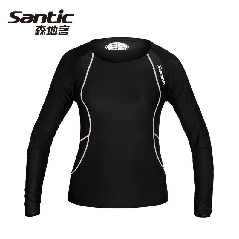 SANTIC Women's Sports Running Long-Sleeves SportsWear Outdoor Sports Underwear Cycling Leotard,Bicycle Accessories Black Pink sahoo 45516 outdoor cycling sunproof polyester sleeves covers black white pair xxl