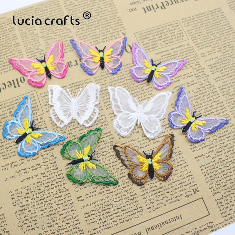 65a7bf4419 Lucia crafts Approx 4.2 5.5cm Multi option Double butterfly embroidery  patch Sew-on