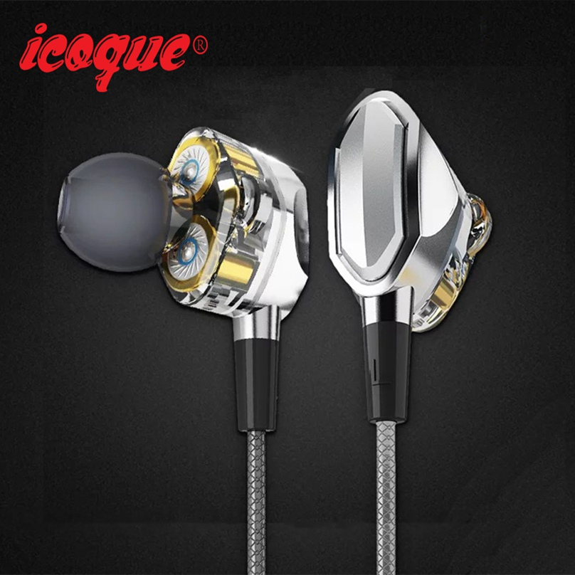 Icoque Metal Earphones Hifi Bass Quality With Mic for iPhone 6s 5 5s Xiaomi Redmi Phone Stereo Music Jack In-ear Wired Earphones