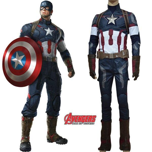 (In Stock)Avengers: Age of Ultron Captain America Steve Rogers Cosplay Costume Adult Men Steven Rogers Cosplay Costume Halloween