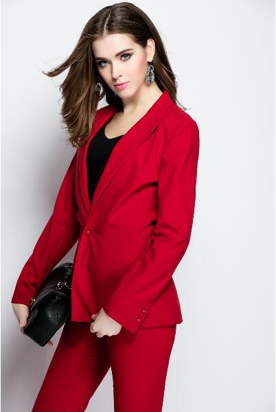 10-1 Women High Quality Custom Made Red Tuxedos Formal Female Suits (Jacket+Pants)