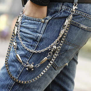 Mens Hip Top Punk Rock Pants Trousers Jeans Waist Wallet Skull Metal Chains