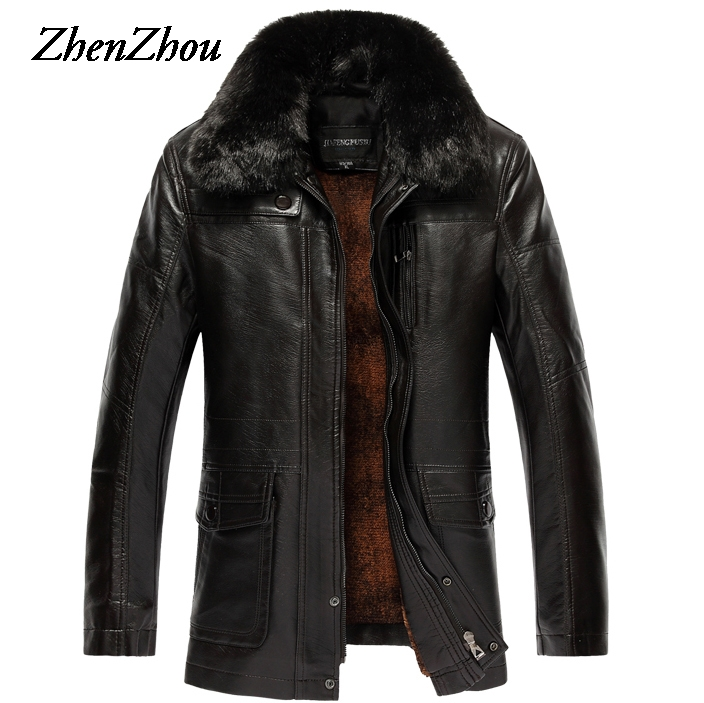 XL-7XL Casual Solid Fur Collar Leather Jacket Mens Coat Warm 2017 Winter Jacket Men Leather Jackets Male Plus Size Top Quality free shipping 2017 winter warm dhl brand clothing vintage jackets mens genuine pakistan cow leather biker jacket plus size