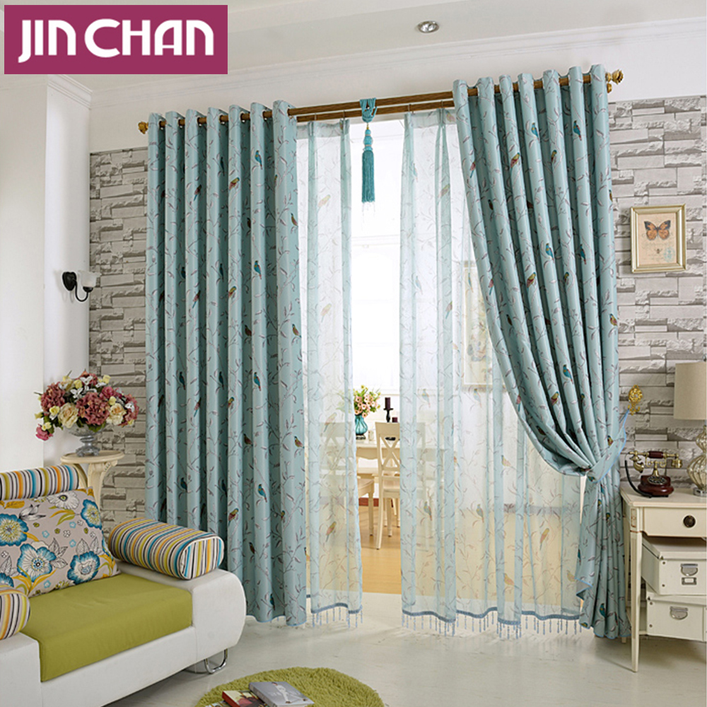 Bird sheer curtains - Modern Bird Printed Blackout Window Curtains Drapes Shades For Living Room Bedroom Kitchen Grommet Top