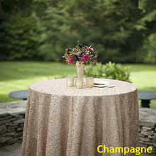 Champange tablecloth 90x132in Glitter Round Rectangular Embroidered Sequin Table cover for Wedding Party Christmas Decoration