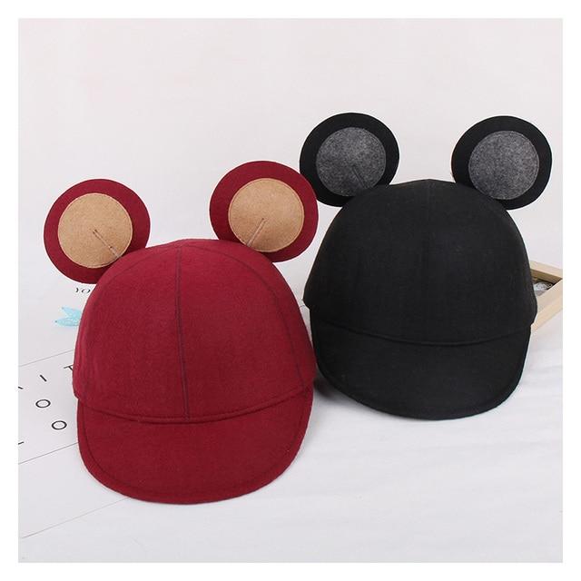 Fashion Wool Felt Baseball Cap Mickey Ears Hat For Women Men Equestrian  Knight Autumn Winter Patchwork Fedora Hats ce8314a4559