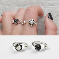 100 Real 925 Sterling Silver Rings For Women Ringen Vintage Simulated Pearl Ring Aneis Feminino Opening