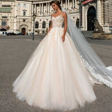Eightree Ball Gown Spaghetti Straps Wedding Dress Appliques Tulle Long Backless vestido de noiva Bridal Pink
