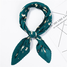 2019 New Womens Small Square Silk Scarf Crinkle Hair For Ladies Pleated Scarves Printed Female Foulard Bandana 100*30CM
