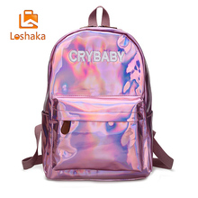 Loshaka Hip hop Style Embroidery Letters Crybaby Hologram Laser Backpack Women Soft PU Leather Backpack School