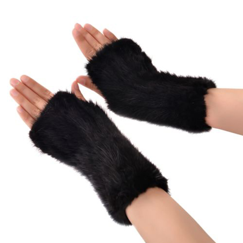 Womens Gerçek Örme Vizon Parmaksız Yumuşak Kış Kürk Eldivenler - Elbise aksesuarları