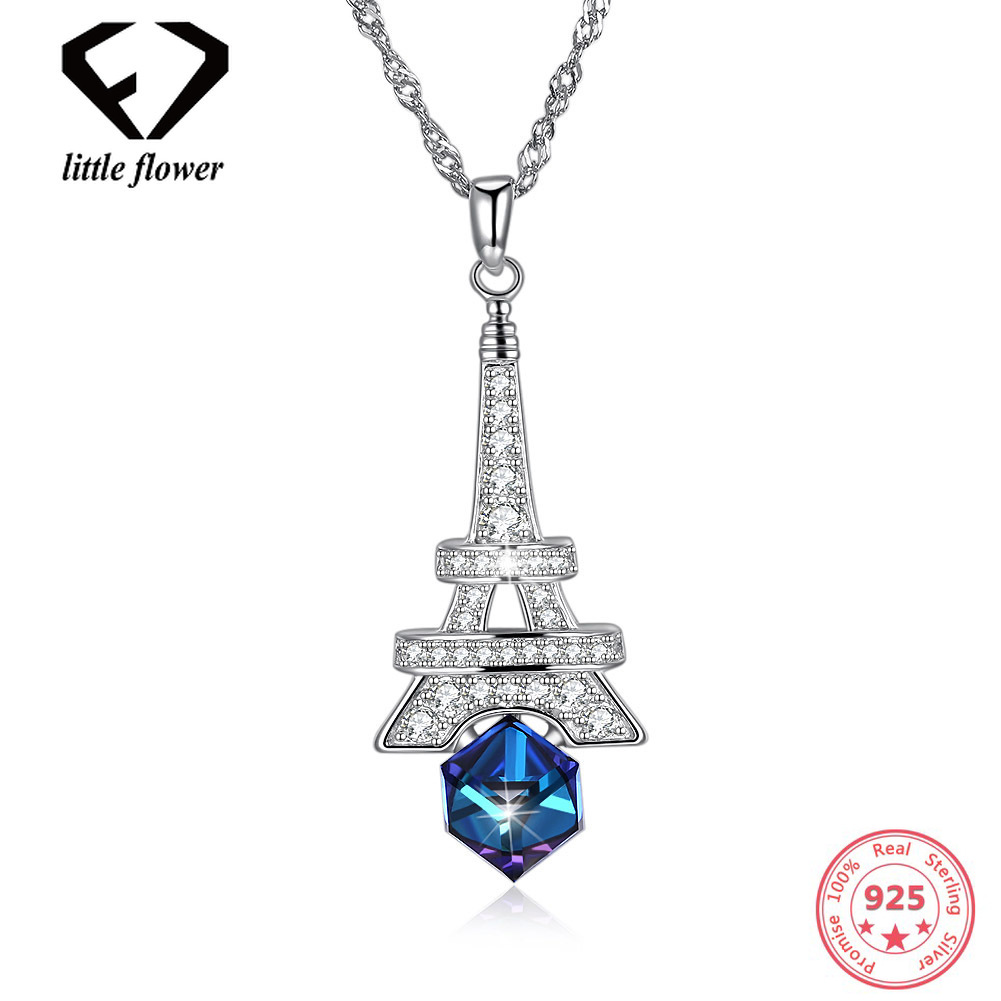 Austria Elements Crystal Eiffel Tower Women's Necklace European and American Fashion Style Sterling Silver 925 Pendant Geometric цены