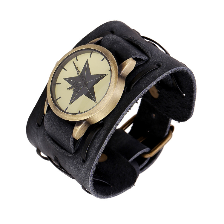 Fashion Jewelry Wide Genuine Leather Watch Bracelets Chain Handmade Vintage Bracelet Men Retro Bracelet &Bangle PK-129