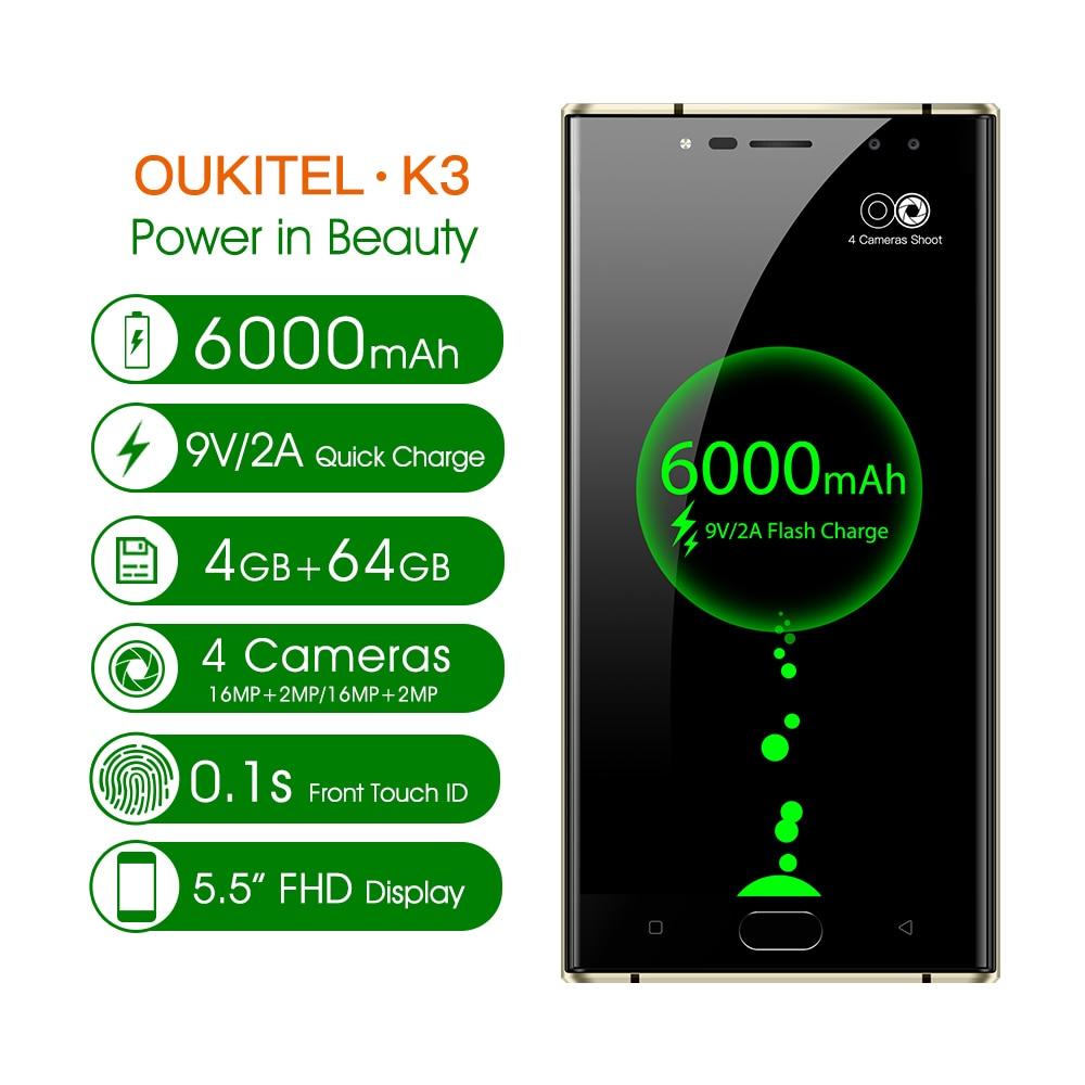 Oukitel K3 Mobile Téléphone MT6750T Octa Core 4 GB + 64 GB 5.5 Double Écran 2.5D 6000 mAh 4 caméras 16MP + 2MP Avant D'empreintes Digitales Smartphone