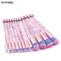 Glitter Crystal Makeup Brush Set 12pcs Professional Highlighter Brushes Concealer Make Up Tool Rose Gold Portable