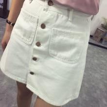 On sale 2019 summer Womens ladies A-line Pencil denim min Skirt High Waist jeans harajuku pockets Skirt black white high quality