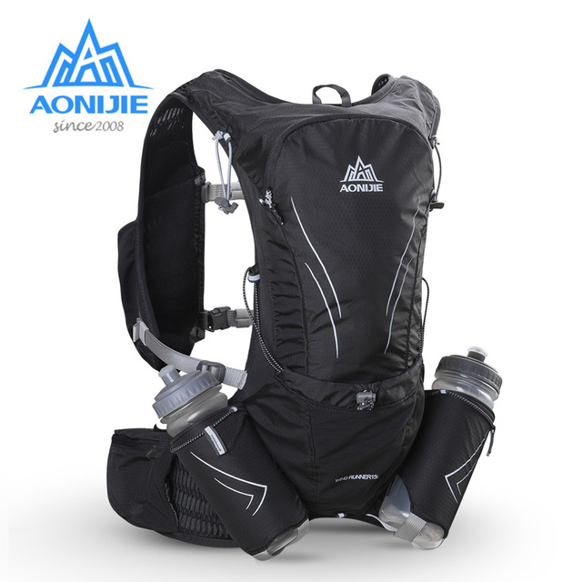 AONIJIE 15L gran corriendo bolsa con 2 piezas de botellas de 600ml al aire libre maratón reflectante senderismo ciclismo mochila hidratación chaleco paquete