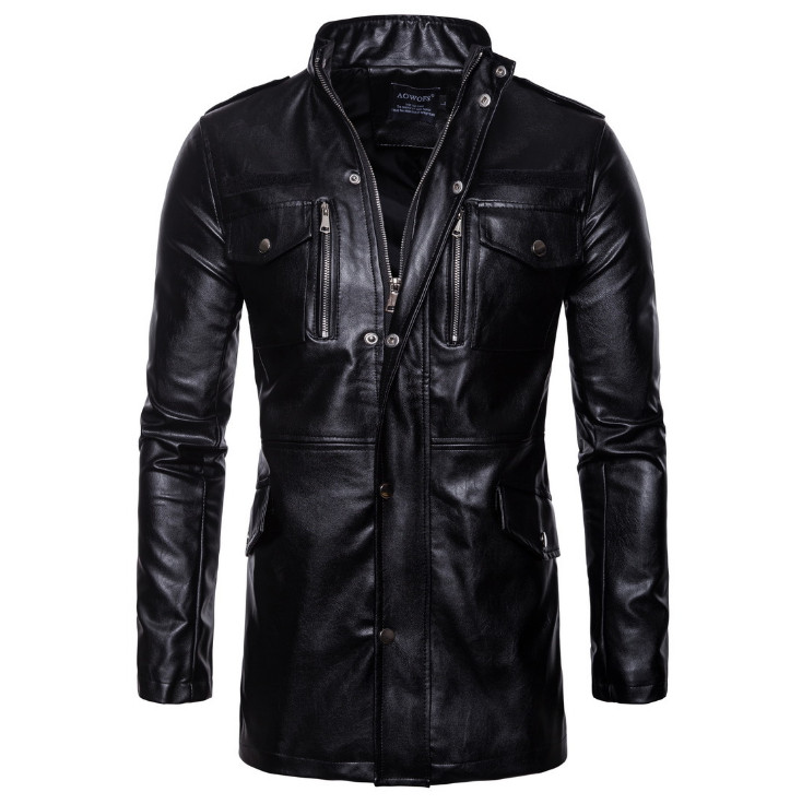 New Autumn Motorcycle Leather Jacket Men Long Windbreaker Coat High Quality PU Leather Jacket Male Multi-Pocket Leather Jacket
