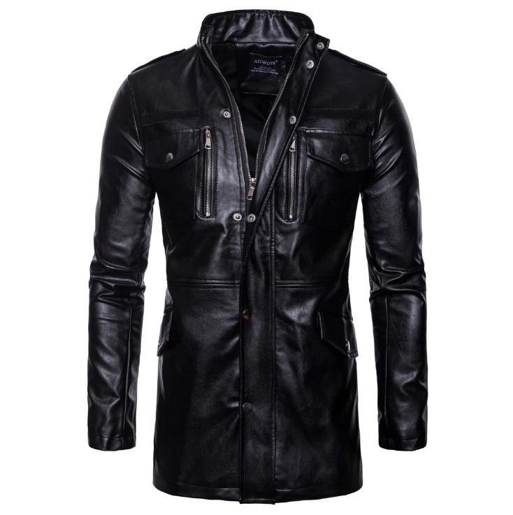New Autumn Motorcycle Leather Jacket Men Long Windbreaker Coat High Quality PU Leather Jacket Male Multi-Pocket Leather Jacket