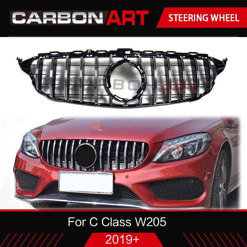 <font><b>2019</b></font> New C Class W205 GT Grille diamond grille Mesh Grid Front Bumper Racing Coupe Sedan <font><b>For</b></font> <font><b>Mercedes</b></font> C180 <font><b>C200</b></font> C250 Sports image