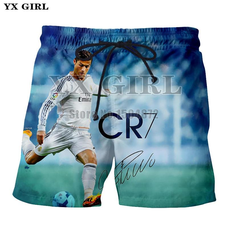Fitness Clothing Beach-Short Printed Summer 3d Girl Casual YX Cristiano Celebrity Ronaldo