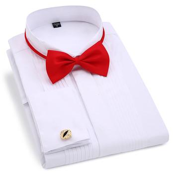 Męskie smoking ślubny z długim rękawem ubranie koszule francuskie spinki do mankietów Swallowtail Fold ciemny z guzikami wzorem dżentelmen koszula biały czerwony czarny tanie i dobre opinie QISHA Tuxedo koszule Pełna Włókno poliestrowe COTTON Przycisk zadaszone Swallowtail Tuxedo Shirts Suknem Stałe Stojak