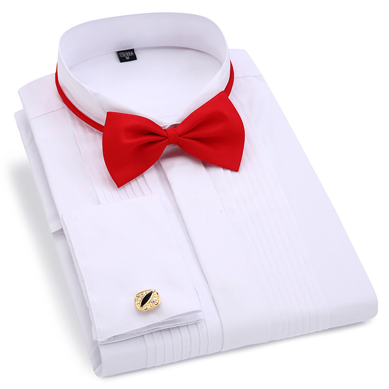 Men Wedding Tuxedo Long Sleeve Dress Shirts French Cufflinks Swallowtail Fold Dark Button Design Gentleman Shirt White Red Black
