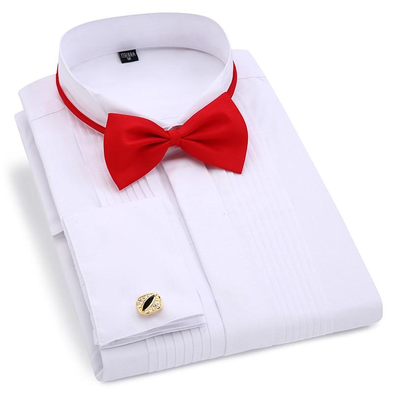 Men Wedding Tuxedo Long Sleeve Dress Shirts French Cufflinks Swallowtail Fold Dark Button Design Gentleman Shirt White Red Black