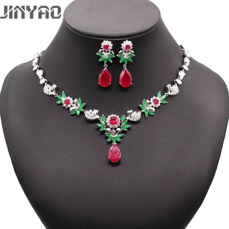 JINYAO luxe chaud africain femme Costume ensemble de bijoux pour les femmes couleur or rouge vert Zircon collier boucles d'oreilles ensemble de mariage