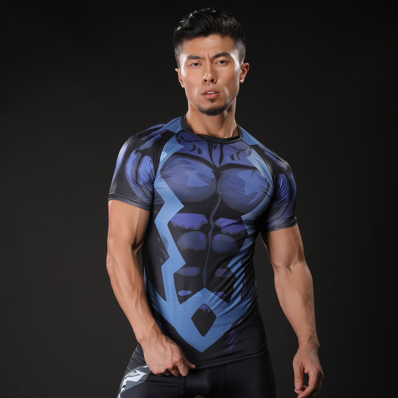 2017 brand men marvel punisher t shirt superhero short sleeve t shirts fitness superman 3d shirts compression shirt tights male-1