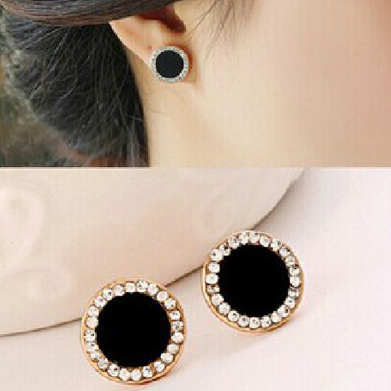 E0415 New Black Crystal Earrings For Women Sunflower Stud Earrings Statement Ear Jewelry Exquisite Gift Wholesale Accessories