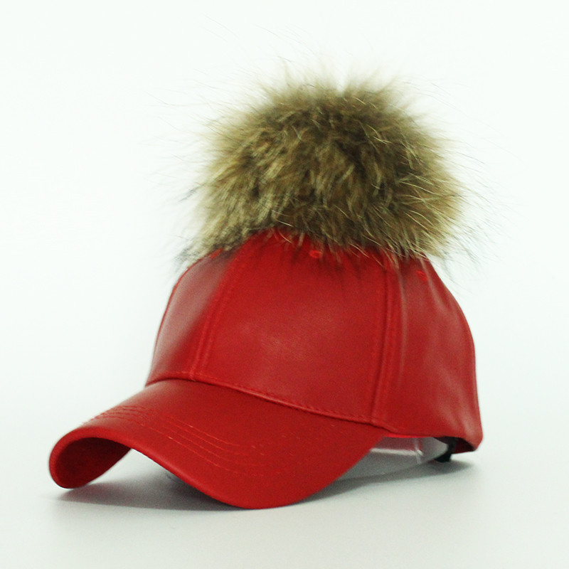 2016-Hot-Sale-Women-s-Winter-Hat-PU-Leather-Pom-Pom-Cap-Leather-Hat-With-Fur (3)