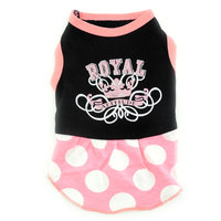 Pet Small Dog Clothes For Girls Summer Royal Crown Dress Dots Skirt Black And Pink XS