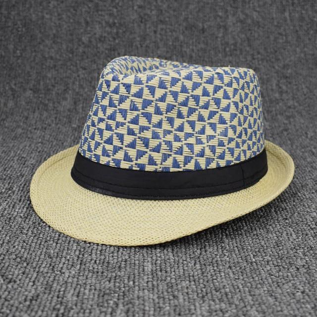 Unisex Straw Sunhat Summer Beach Fedora Trilby Gangster Hats Cap Gentleman  Panama Packable Travel hat Female 81ee3c26851