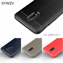 For Oneplus 7 Case Shockproof Luxury PU leather Rubber Soft Silicone Phone Back Cover Fundas