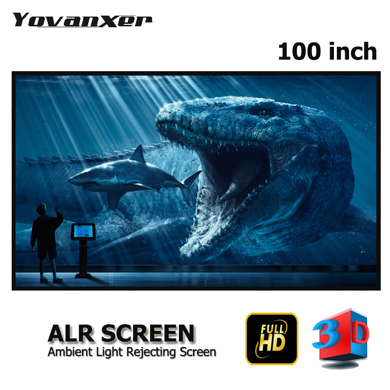 100 inches 16 9 Grey Crystal Slim Frame ALR Projection Screen High Class Anti light Projector
