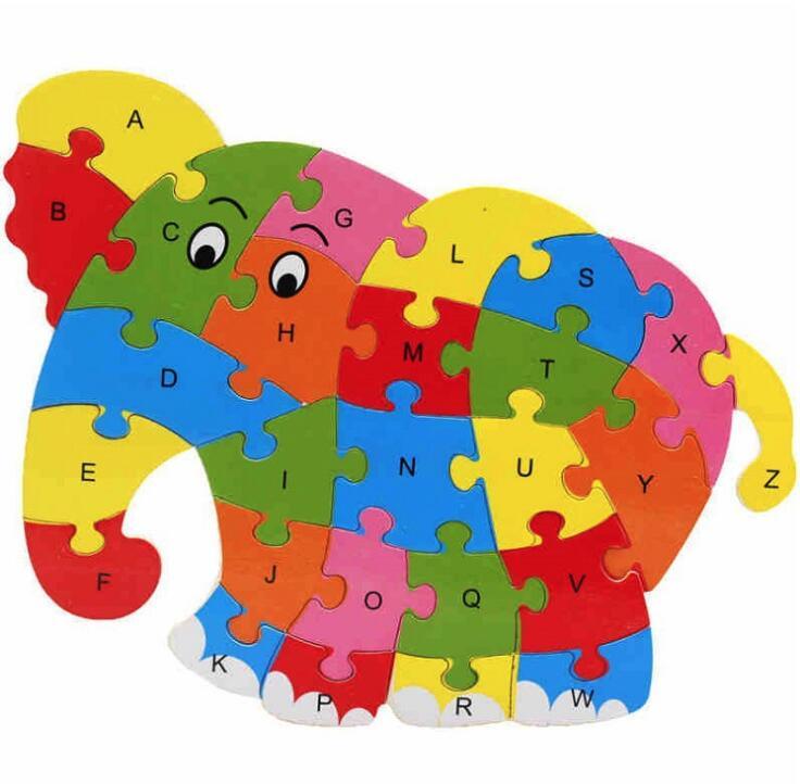 Jigsaw Puzzle Tier holz spielzeug für kind mit fall ohne verpackung box